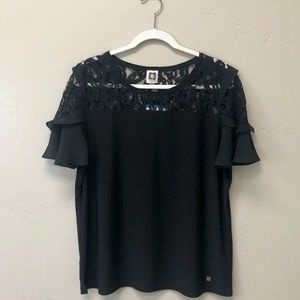 NEW Anne Klein Black Lace and Ruffle Sleeve Blouse